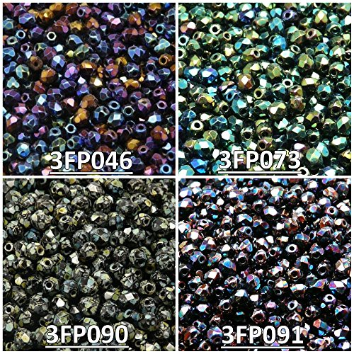 400 Beads 4 Colors Czech Fire-Polished Glass Beads Round 3 mm, Set 331 (3FP046 3FP073 3FP090 - Amethyst Round Firepolish Beads