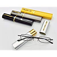 MT74 Pen Holder Grey Frame Compact Reading Glasses with Case with12 Lens Strength Variations Up to +3.75