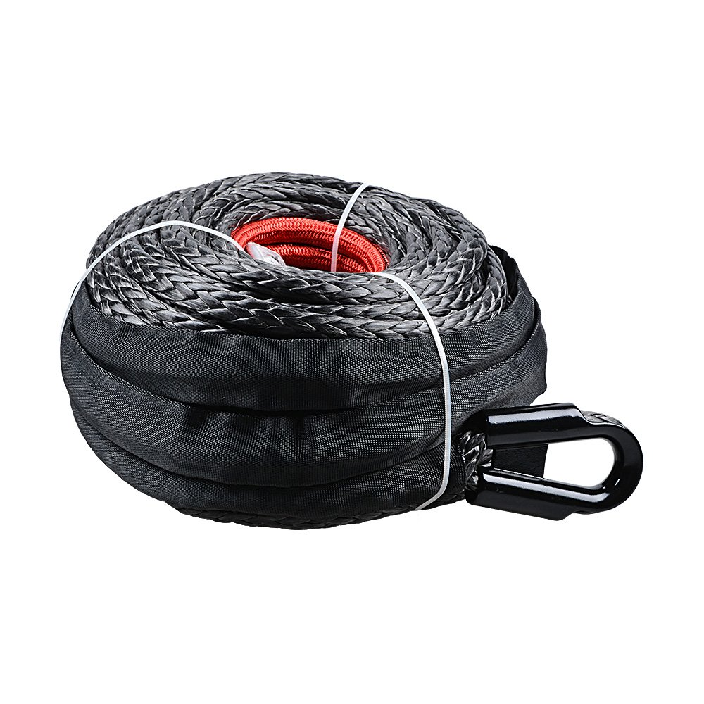 Black Astra Depot 92ft x 1//2 Synthetic Winch Rope w//Protective Sleeve for Jeep ATV UTV Boat Van Pickup Truck