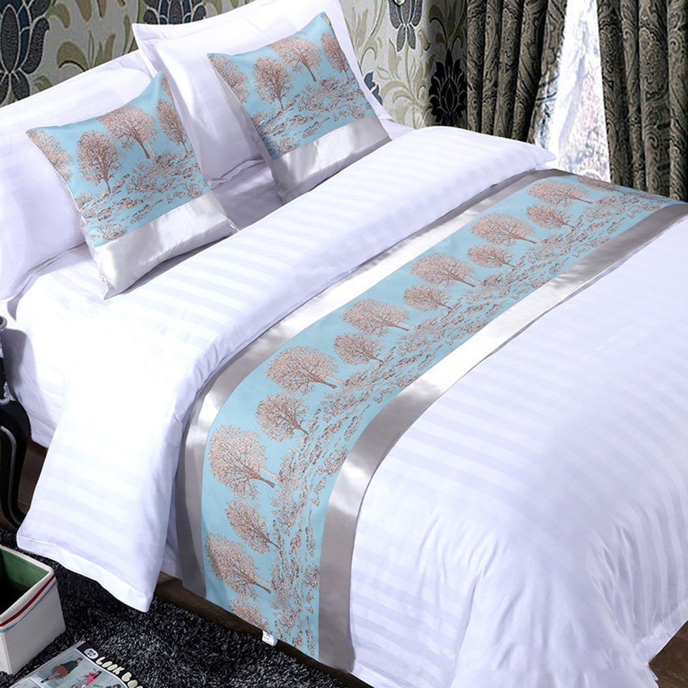 Bbshoping Cotton Bed Runner Luxurious Rich Tree Bed End Scarf for Bedroom Hotel Wedding Room-19x94 Inch (Blue)