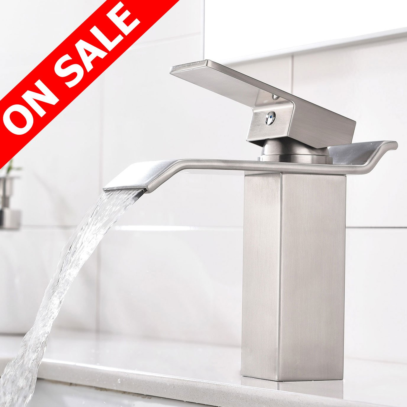 KINGO HOME Commercial Lavatory Vanity Single Handle Single Hole Brushed Nickel Waterfall Bathroom Faucet, Bathroom Sink Faucet with Extra Large Rectangular Spout