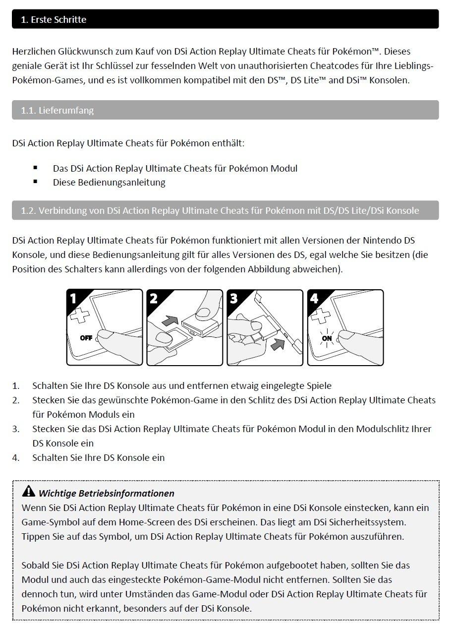 Ds Action Replay Ultimate Cheats Für Pokémon Amazonde Games
