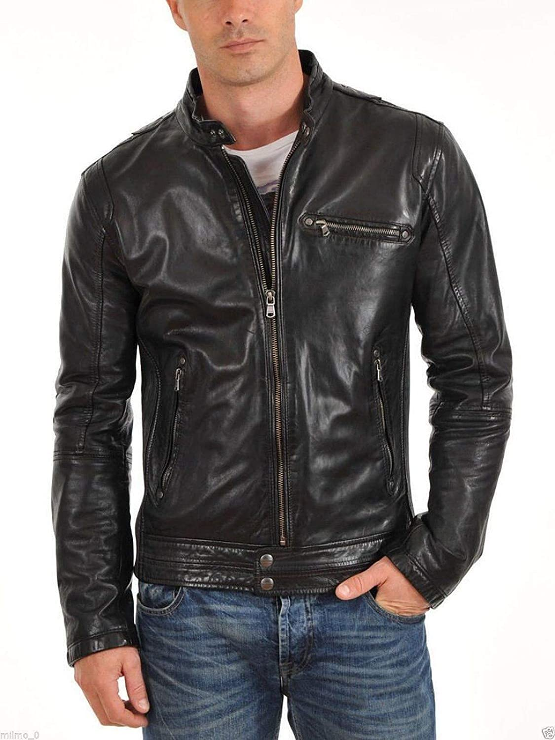 brandMe Mens Genuine Leather Pure Lambskin Biker Jacket MM431