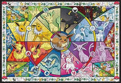 Lilqiu Pokémon - Vidrieras de Eevee - Rompecabezas de 1000 Piezas para Adultos: Amazon.es: Juguetes y juegos