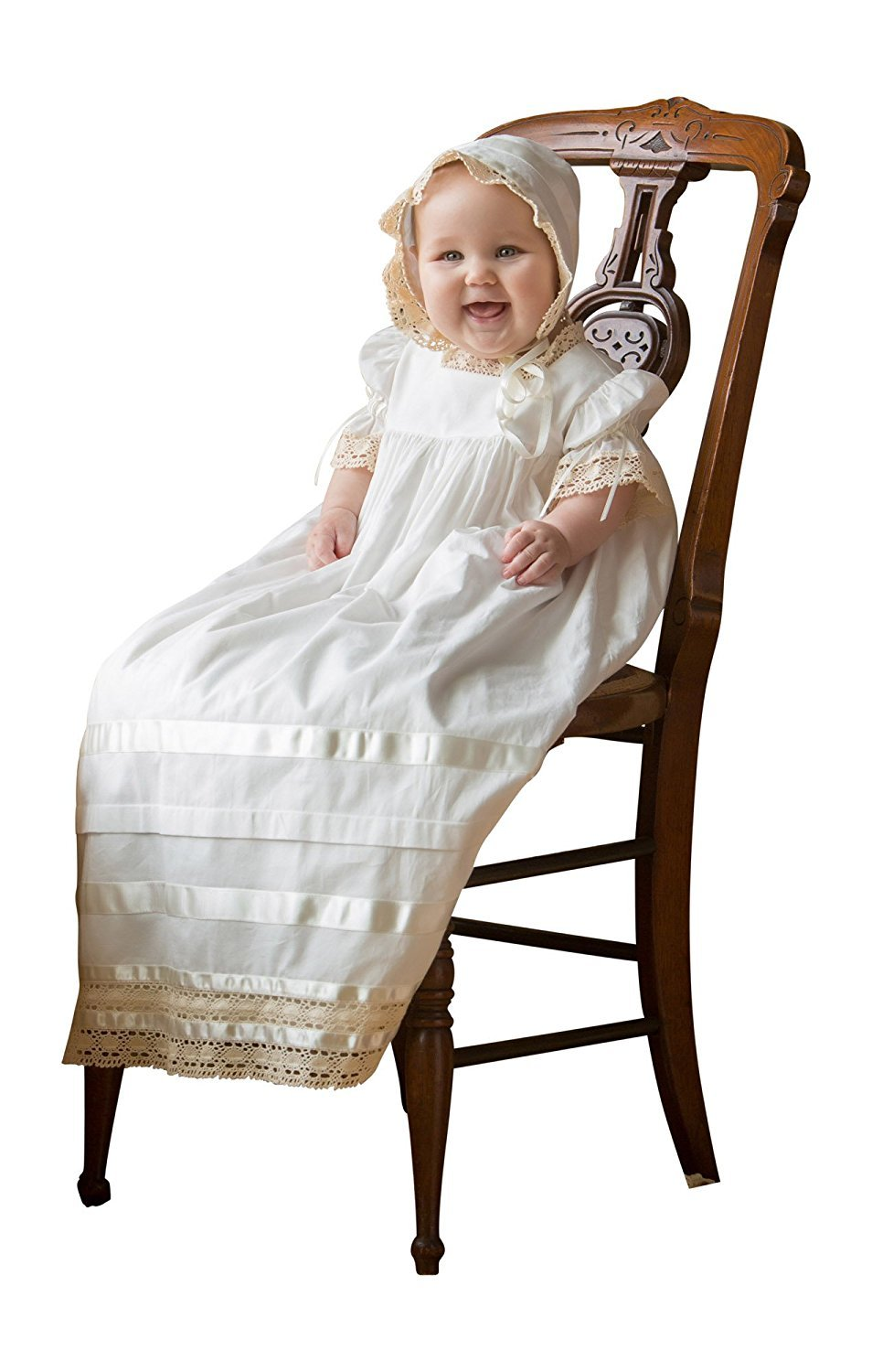 Banfvting Children Babies Lace Christening Gown with Bonnet Baptism Dresses
