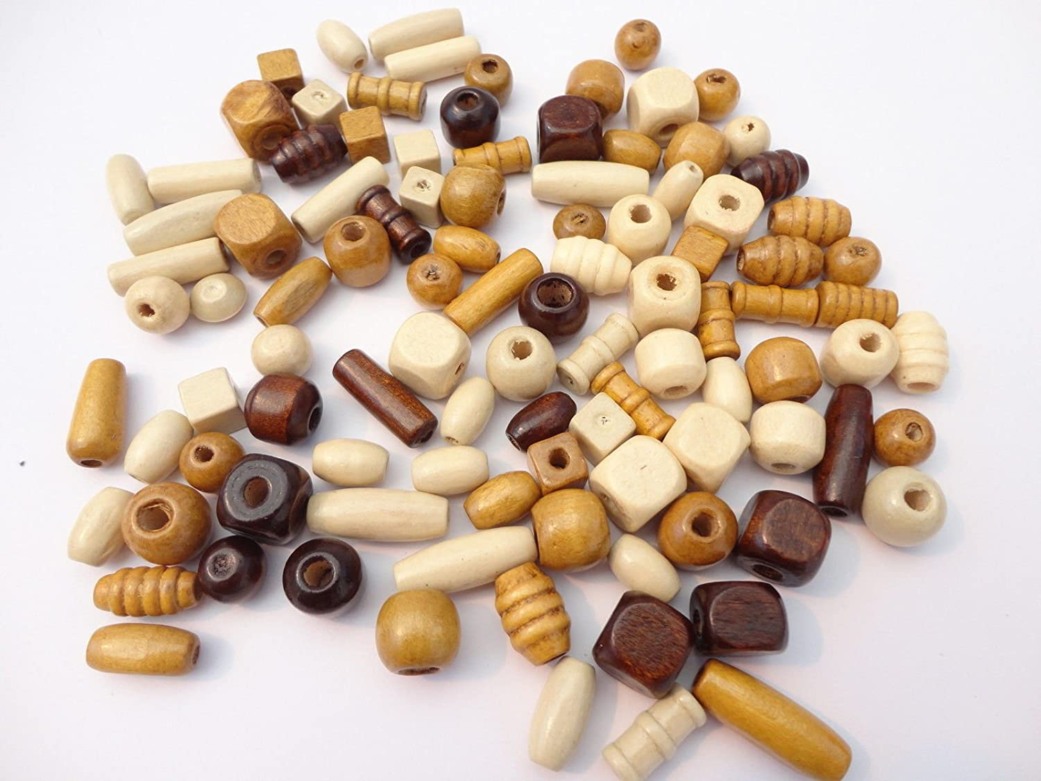 100 Or 200 Wooden Mixed Size /& Shape Wood Beads Craft Jewellery Dolls Hair Braiding Pack Size 100 Beads
