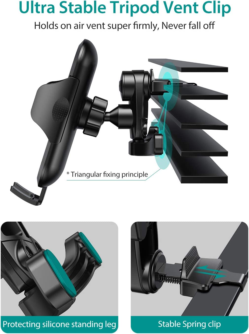 Note 10 10 VICSEED 2020 Upgrade Ultra Stable Car Phone Mount Easy Clamp Universal Car Phone Holder Air Vent Cell Phone Holder for Car Fits for iPhone SE 11 Pro X XS Max XR Galaxy S20 S20 All Phones