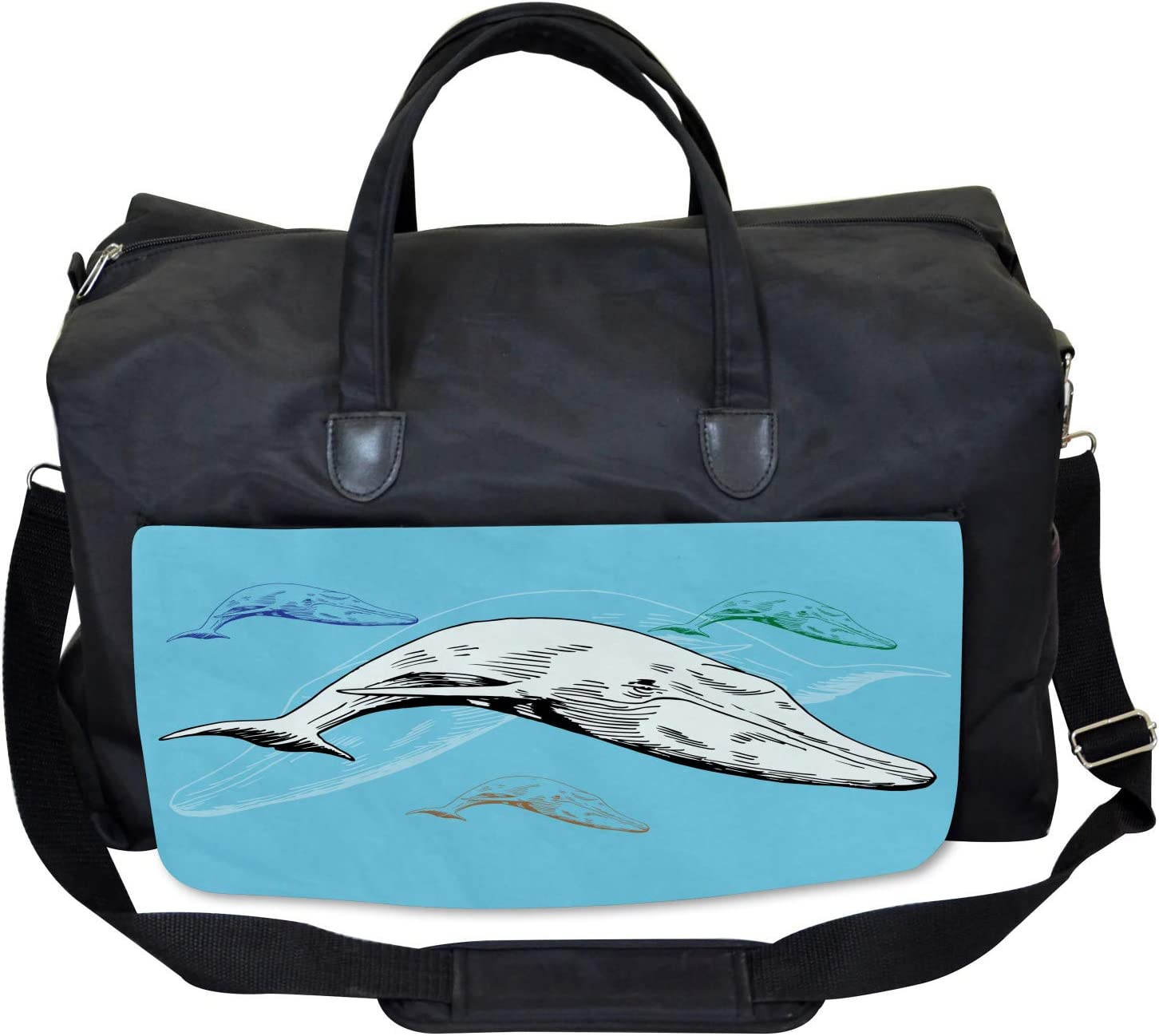Ocean Whales Hand Drawn Ambesonne Animal Gym Bag Large Weekender Carry-on