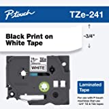 """Brother Genuine P-touch TZE-241 Tape, 3/4"""" (0.70"""") Standard Laminated P-touch Tape, Black on White, Perfect for Indoor…"""