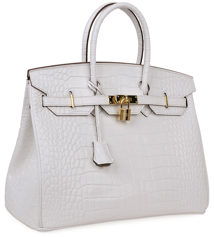 Cherish Kiss Padlock Bag Women Crocodile Leather Top Handle Handbags (35cm, Pure white) by Cherish Kiss (Image #2)