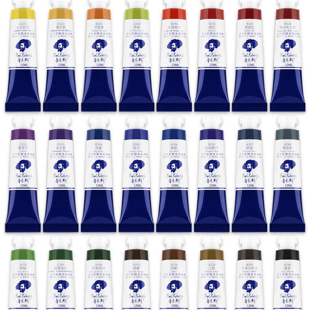 Paul Rubens Watercolor Tubes, 24 Colors x 12ml Tubes Artist Grade Watercolor Paints Set, Extra Fine Highly Pigmented Paint Perfect for Hobbyist and Artist by Paul Rubens