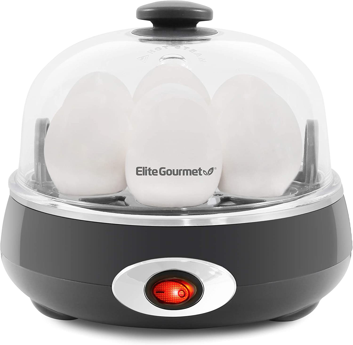 Elite Gourmet EGC007CHC Easy Electric 7 Egg Capacity Cooker, Poacher, Omelet Maker, Scrambled, Soft, Medium, Hard Boiled with Auto Shut-Off and Buzzer, BPA Free, Charcoal Grey