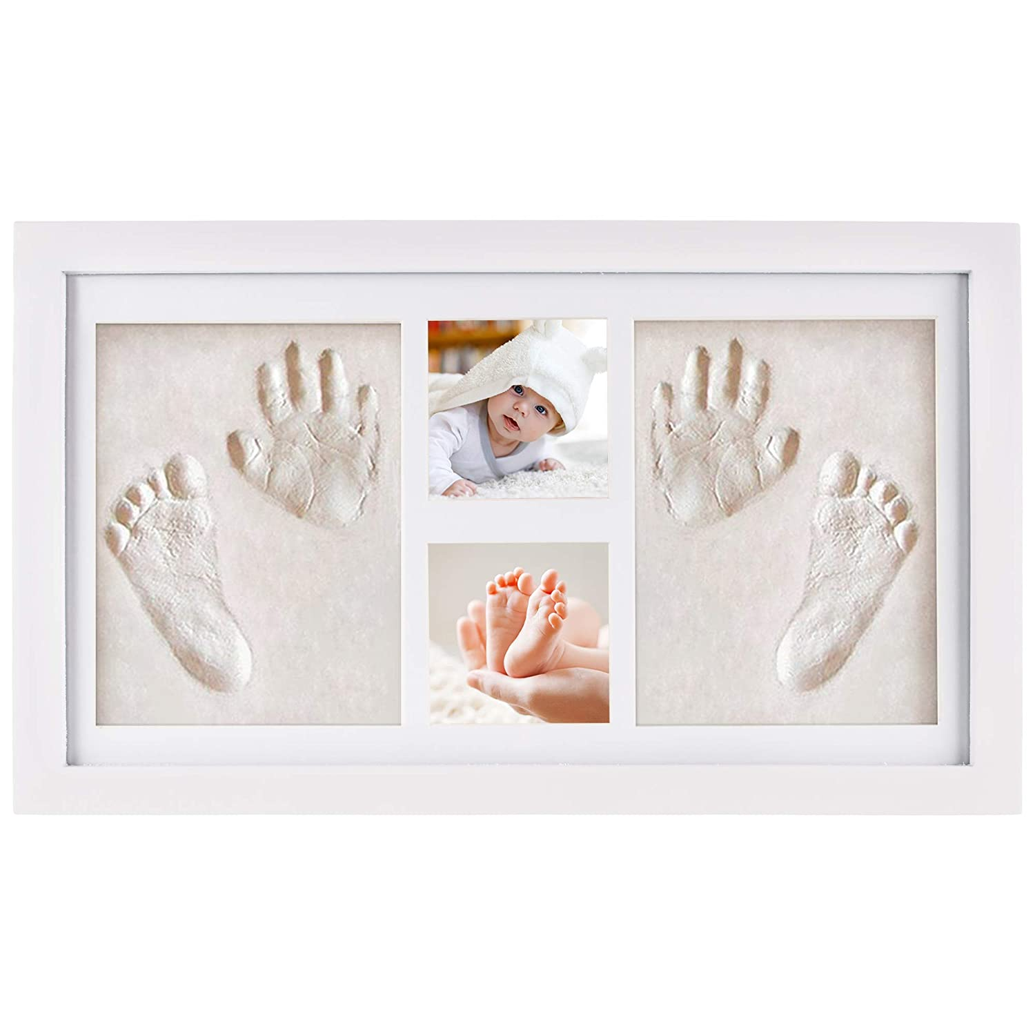 NIMAXI Baby Hand and Footprint picture frame kit, Size 43x25cm, Color White, The Perfect New Born Baby Gift FuTrade