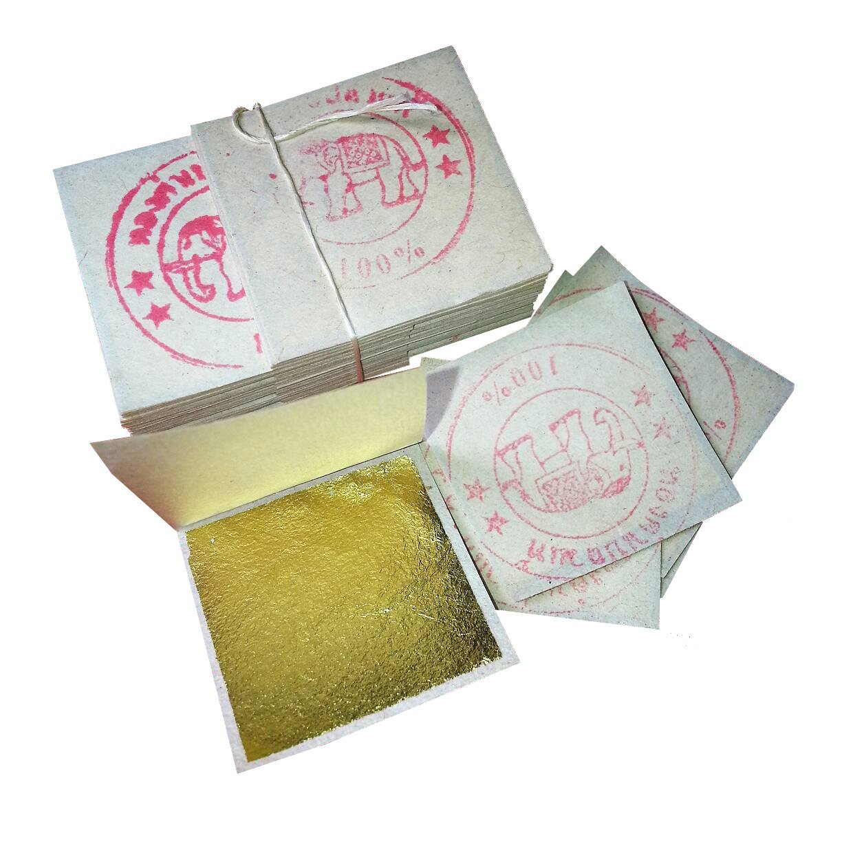 500 Pieces of Gold Leaf for Spa, Food, Art, Framing, Gilding, Facial (3 Cm X 3 Cm) - 100% Real Gold (24k)