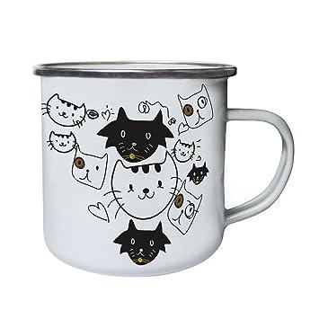 Gatos Lindo amor de gato Retro, lata, taza del esmalte 10oz/280ml cc151e: Amazon.es: Hogar
