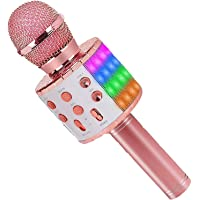 ASENTER Micrófono Inalámbrico Bluetooth Karaoke con luces LED,Infantil Portátil de mano Speaker Machine Birthday Home…