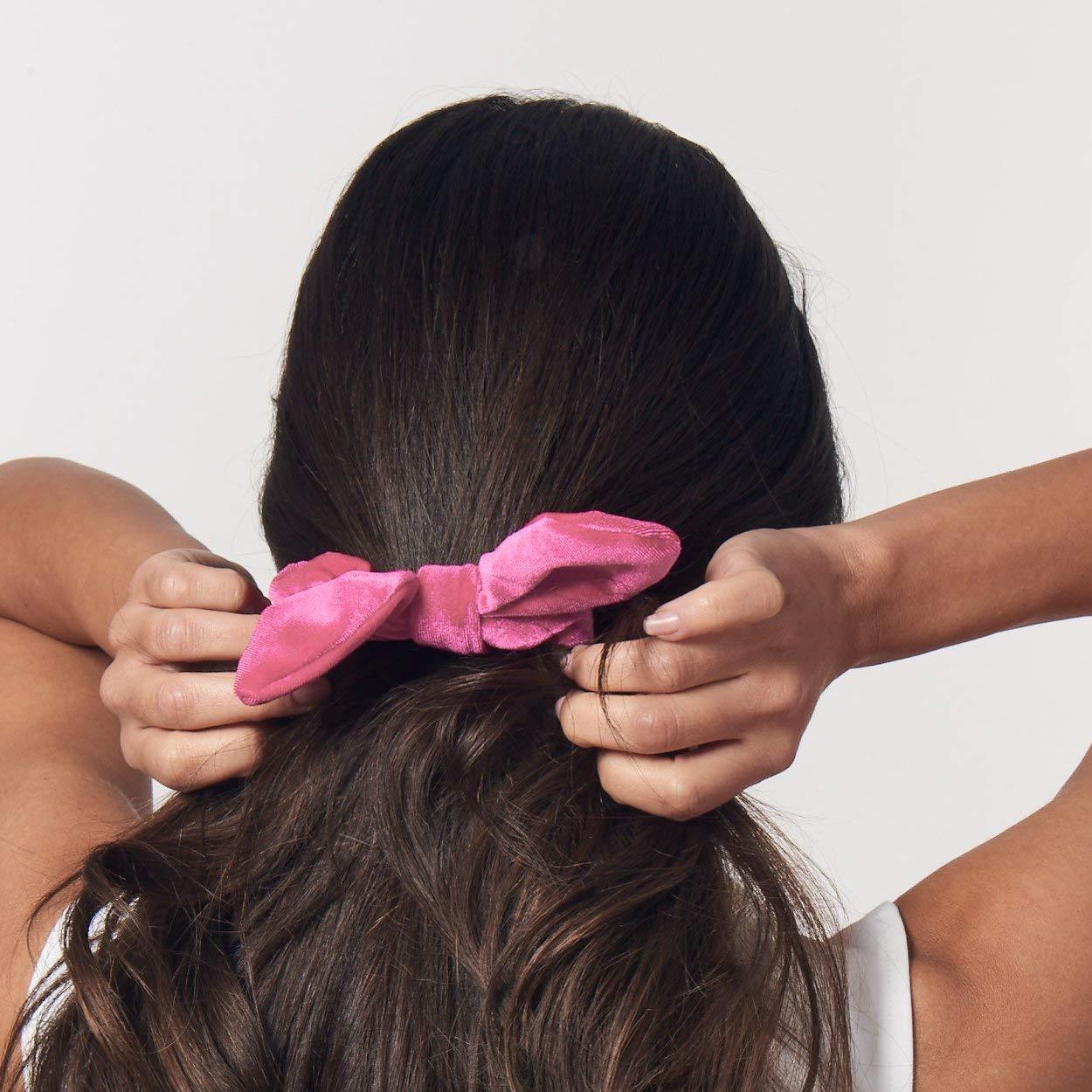 Simnice 25 Pack Hair Scrunchies Rabbit Bunny Ear Bow Bowknot Scrunchie Velvet Scrunchy Bobbles Elastic Hair Ties Bands Ponytail Holder by Simnice (Image #9)