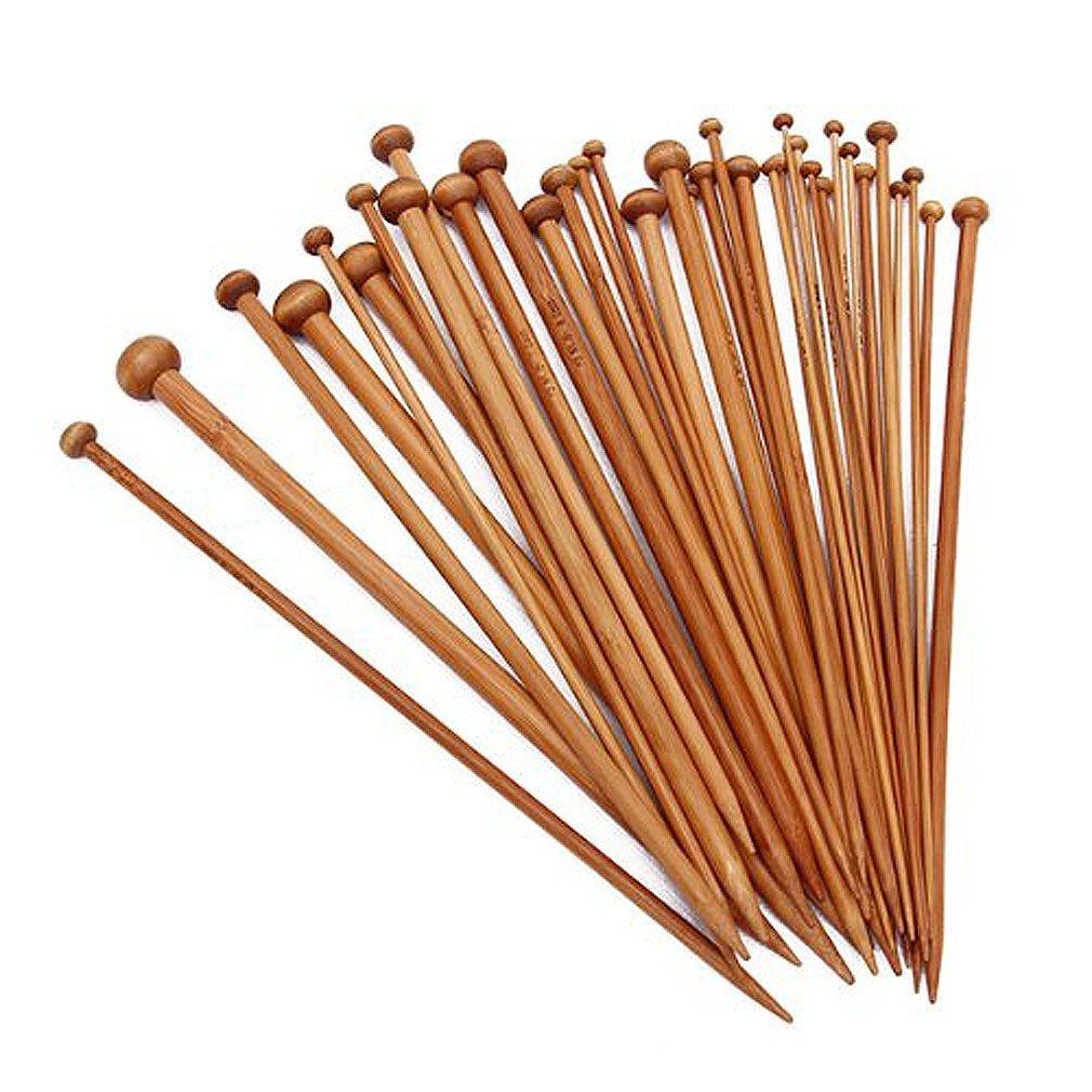 SODIAL(R) Juego de 36 agujas de una sola punta, bambu, 18 tamanos diferentes