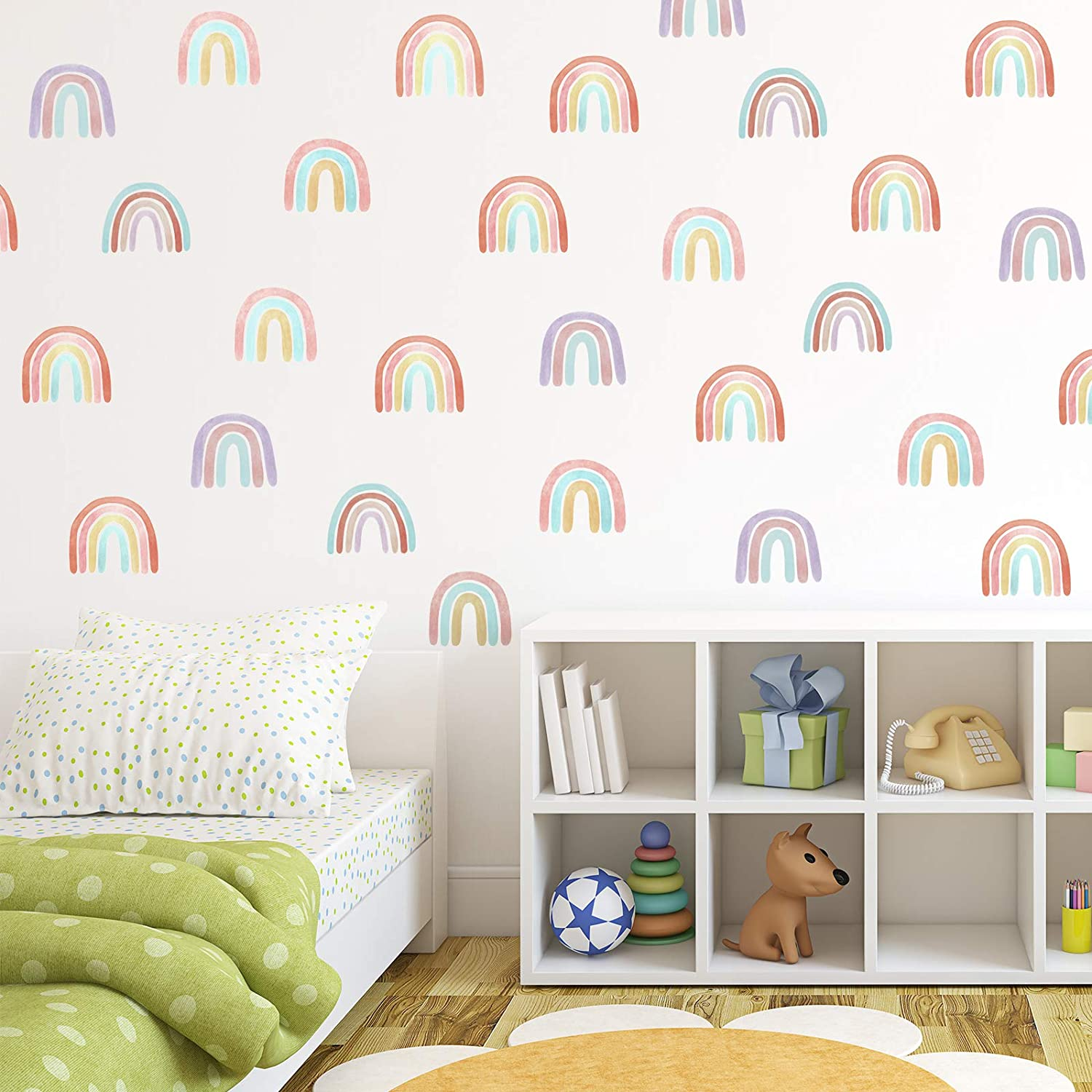 72 Pieces Colorful Rainbow Wall Decals Pastel Rainbow Wall Stickers Room Decor for Girls Kids Nursery Bedroom Decorations