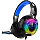 Nivava Gaming Headset for PS4, Xbox One, PC Headphones with Microphone LED Light Mic for Nintendo Switch PS5 Playstation…