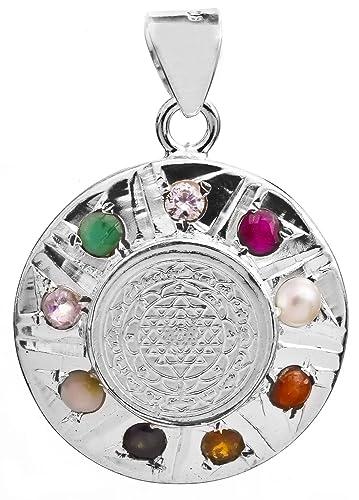 Buy exotic india shri yantra pendant with navaratna sterling exotic india shri yantra pendant with navaratna sterling silver and copper mozeypictures Choice Image