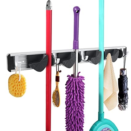 WINOMO Broom Mop Holder Organizer Garage Storage Hooks Wall Mounted 4  Position 5 Hooks For Shelving