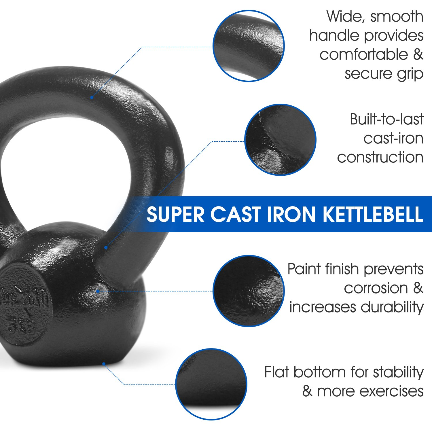 Yes4All Solid Cast Iron Kettlebell Weights Set – Great for Full Body Workout and Strength Training – Kettlebell 5 lbs (Black) by Yes4All (Image #4)