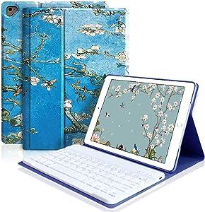 iPad Keyboard Case 9.7 for iPad 2018 (6th Gen), iPad 2017(5th,Gen), iPad Pro 9.7, iPad Air 1/2 Slim Leather Folio Cover with Wireless Bluetooth Keyboard (Blossom)