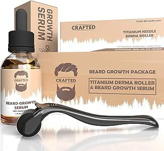 Derma Roller for Beard Growth + Beard Growth Serum - Stimulate Beard and Hair Growth - Best Derma Roller for Men - Amazing Beard Growth Kit