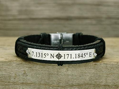 Men jewelry Engraved bracelet Leather Bracelet Custom coordinates Gifts for him Mens bracelet Gift for men Cuff bracelet