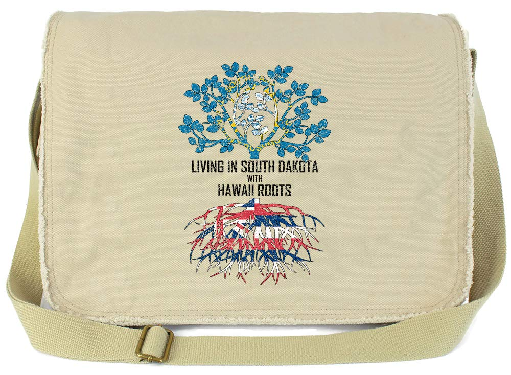Tenacitee Living In South Dakota with Hawaii Roots Grey Brushed Canvas Messenger Bag