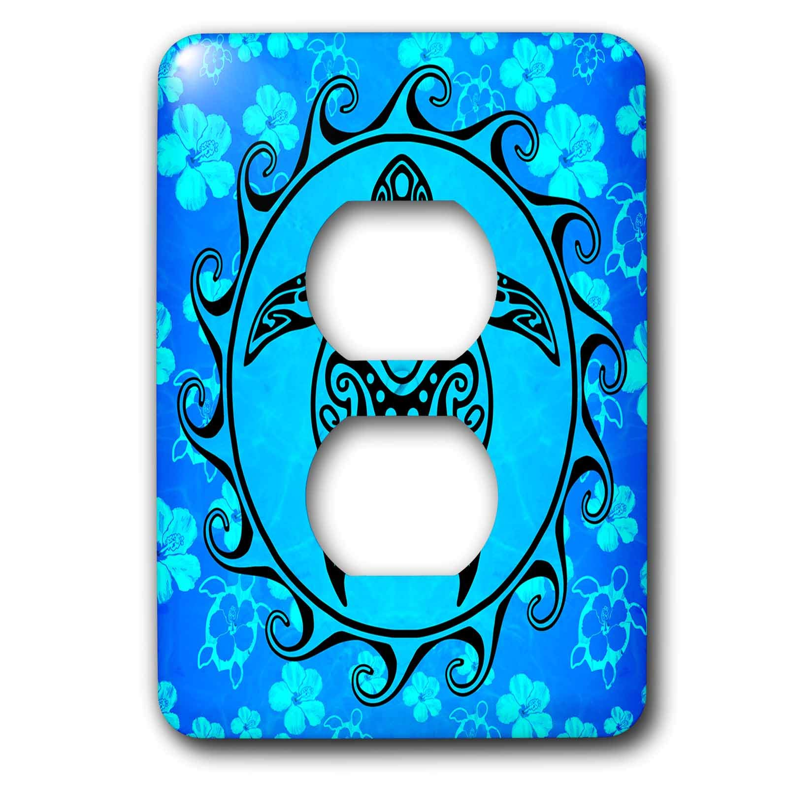 3dRose MacDonald Creative Studios – Tribal Animals - Ocean blue tribal sea turtle, Maori Sun Polynesian symbol and pattern. - Light Switch Covers - 2 plug outlet cover (lsp_295357_6)
