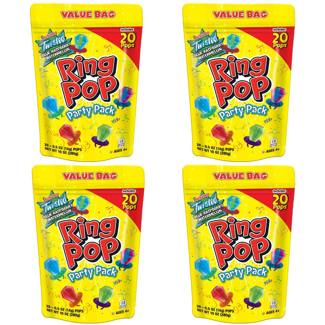 Ring Pop Individually Wrapped Bulk Lollipop- Variety Party Pack, 20 Lollipop 80 Count (Pack of 4)