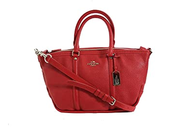 6d931d7f84 Image Unavailable. Image not available for. Color  COACH Women s Pebbled  Small Coach Central Satchel Sv True Red Handbag