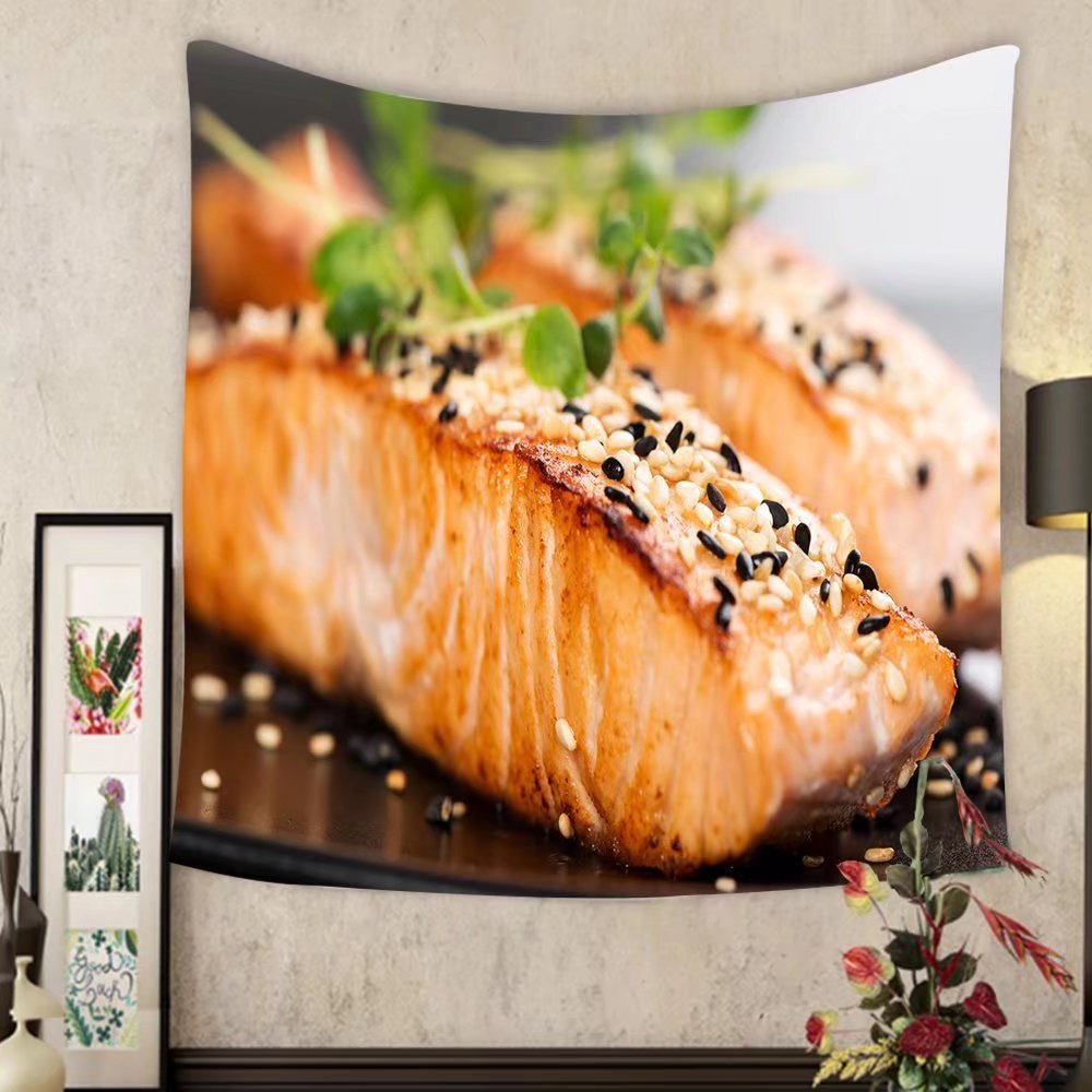 Grace Little Custom tapestry grilled salmon sesame seeds and marjoram on a black plate studio shot by Grace Little