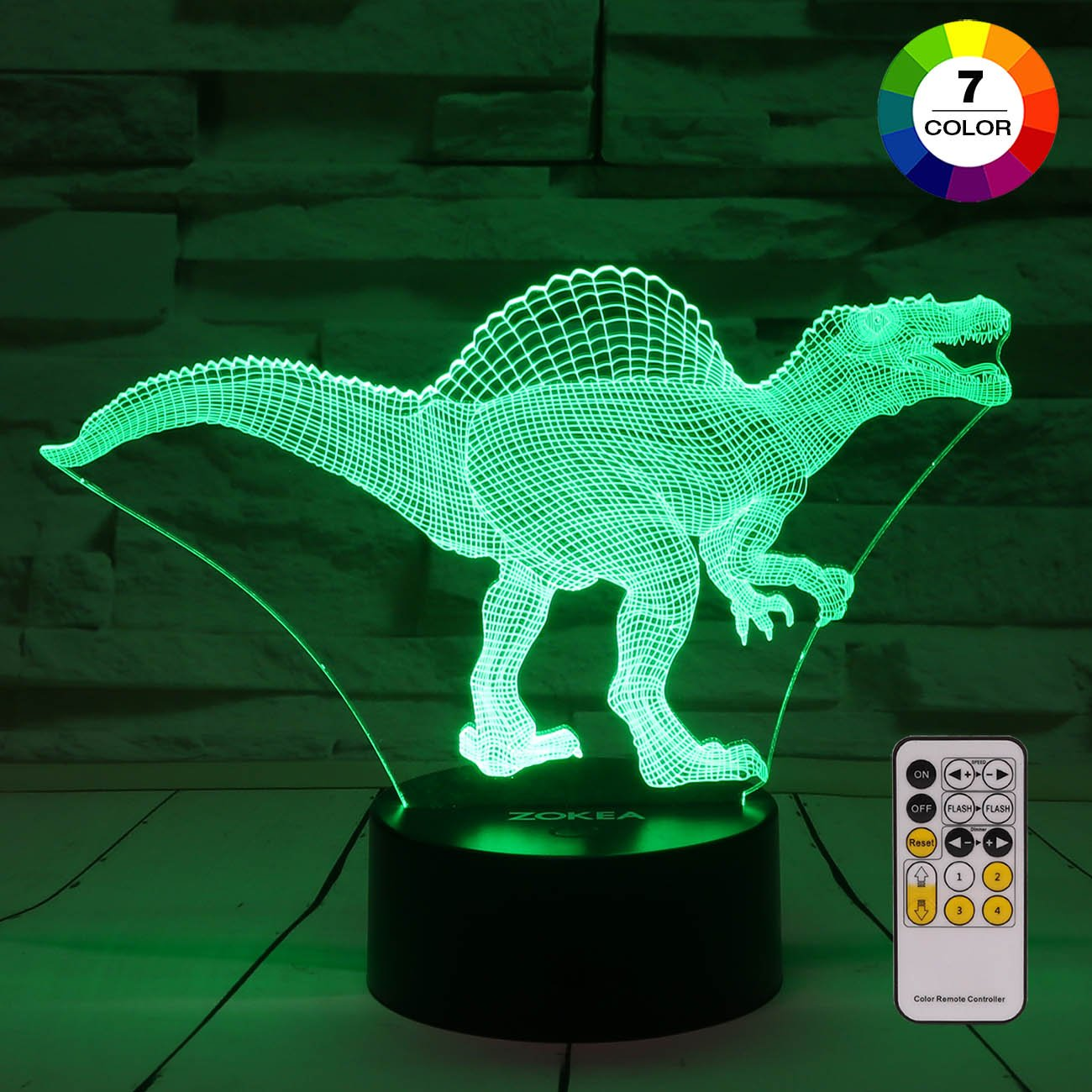 Night Light 3D lamp 7 Colors Changing LED Nightlight with Smart Touch & Remote Control 3D Night Lights for Kids Or as Gifts for Women Kids Girls Boys (Dinosaur Spinosaurus)
