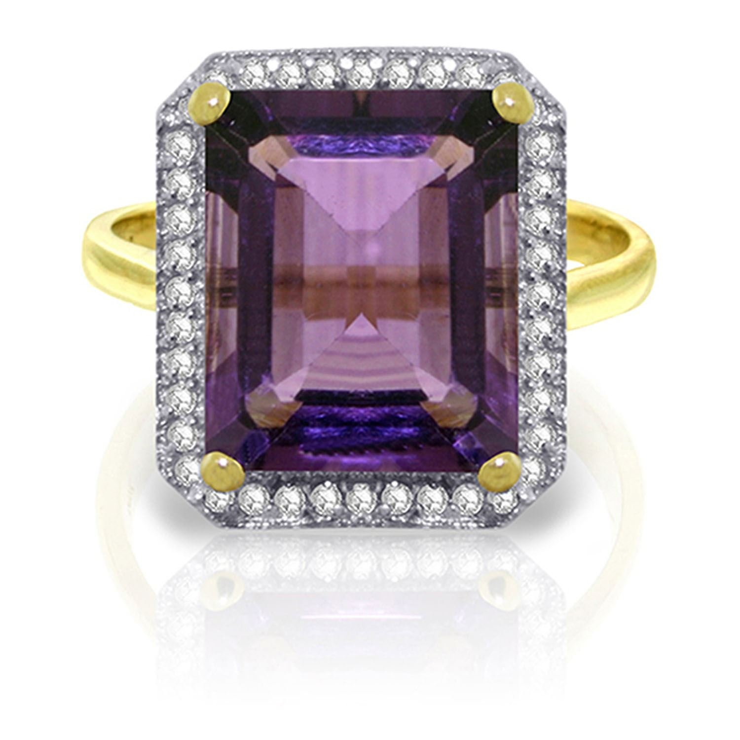 ALARRI 5.8 Carat 14K Solid Gold Quivering Love Amethyst Diamond Ring With Ring Size 9