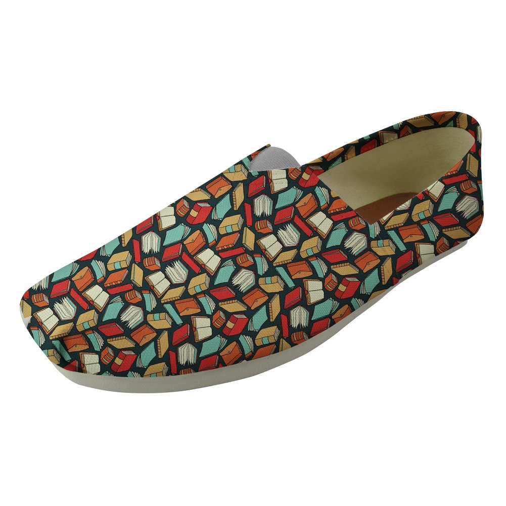 Instantarts Book Lovers Pattern Comfortable Canvas Slip On Shoes Casual Flats for Girls Walking US7