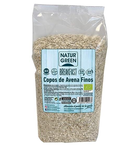 NaturGreen Copos de Avena Finos Sin Gluten Bio 1Kg - Pack de 6 unidades de 1Kg