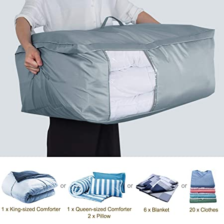 Made for Blankets Large Size Foldable Storage Bag With Reinforced Handle 4 Different Size Under-Bed Storage Bag with Clear Window No-Smell and Moisture Proof Fabric-Blue Duvets Bedding Clothing
