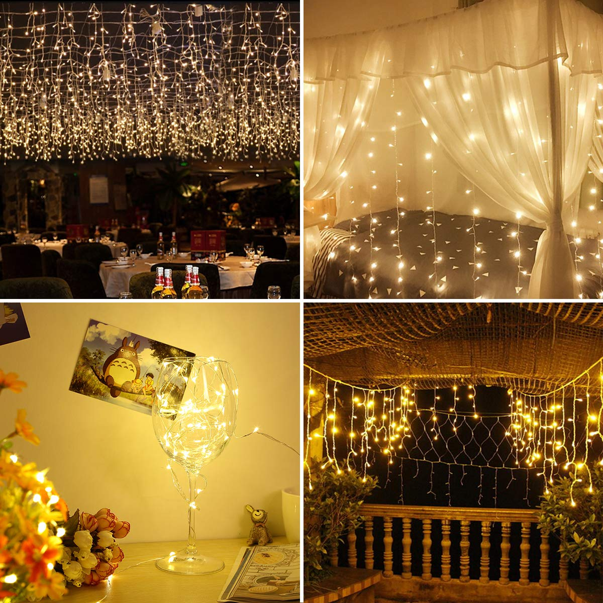 GreenClick Window Curtain String Lights, 32.8ft 480 Leds Fairy String Lights Wedding Party Garden Bedroom Outdoor Indoor Decorations,Waterproof, 8 Lighting Modes, UL Listed Adapter (Warm White) by GreenClick (Image #6)