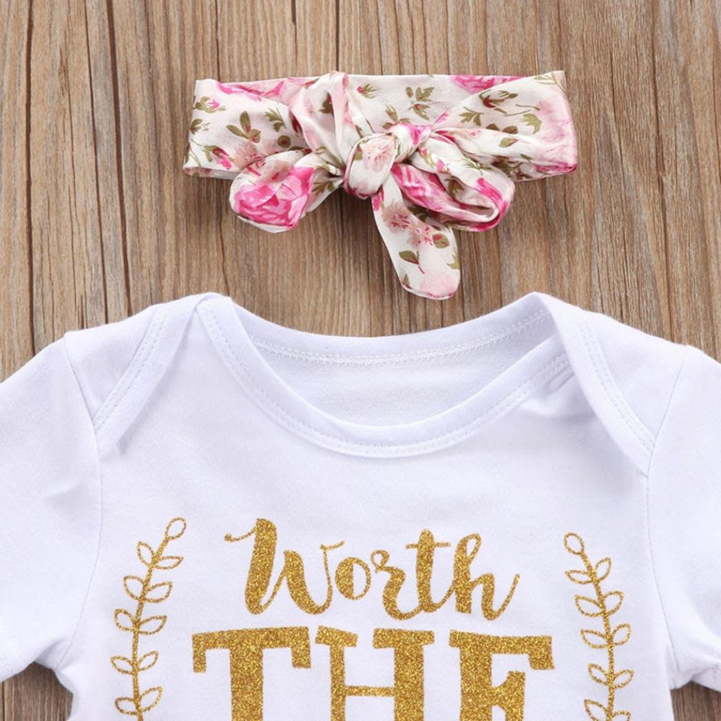 e688c8a68ab ... 3Pcs Clothes Newborn Infant Baby Girls Letter Floral Romper Shorts  Skirt Bow Headband Outfits Set Aritone ...