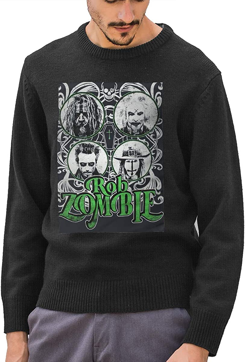 MUHAHA Men Rob Zombie Band Print Crew-Neck Sweaters