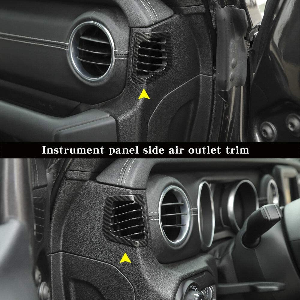 Door Handle bowl cover NO7RUBAN Carbon Fiber Style Full Set Interior Decoration Cover Trim for Jeep Wrangler JL 2018 Door Handle bowl,Center Console,Gear Shift,Air Outlet,Headlight