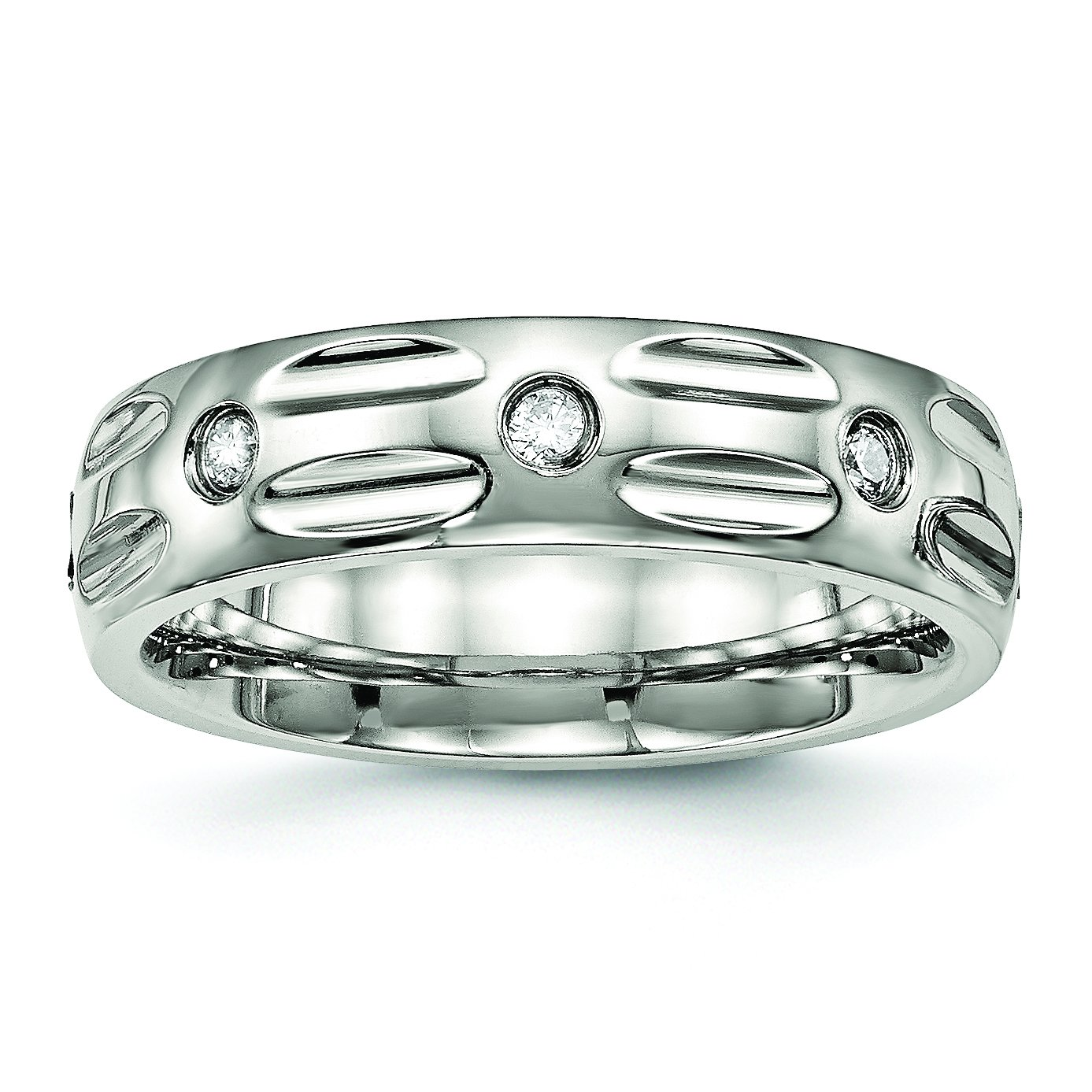Grooved Bridal Stainless Steel Polished Grooved CZ Ring SR486-6.5Polished CZ Stainless Steel