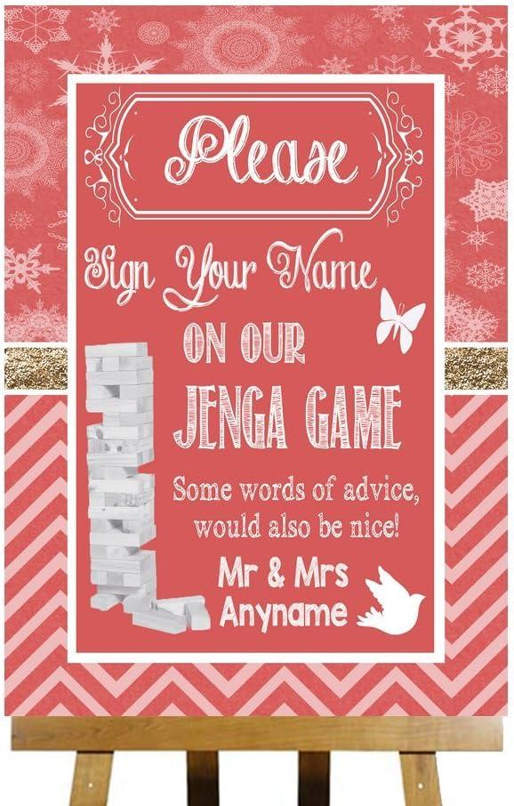 Juego Jenga recado rojo caja de madera tarjeta impresa boda señal personaliseitonline, color rosso Small A5: Amazon.es: Oficina y papelería