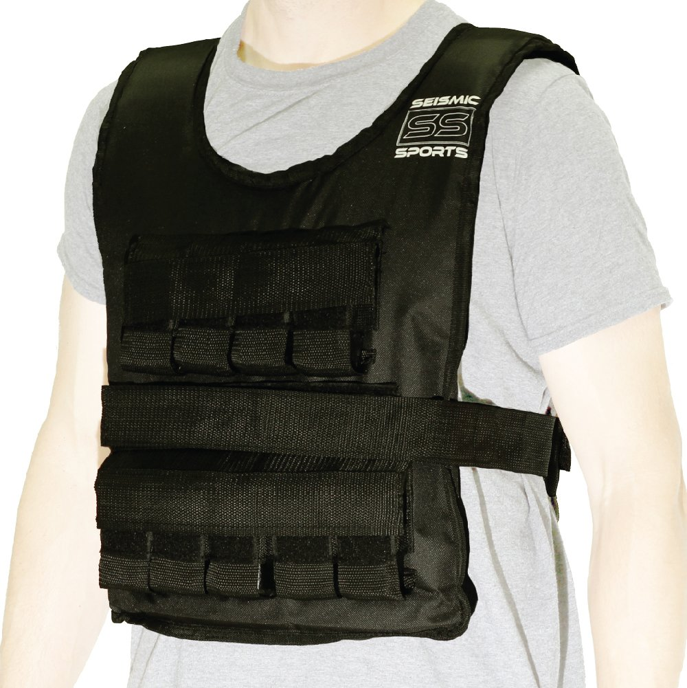 Seismic Sports - SS40VBK - Adjustable Weighted Vest 40 lb Black for Crossfit, HIIT, Strength,  Cross Training and Cardio Exercise by Seismic Sports