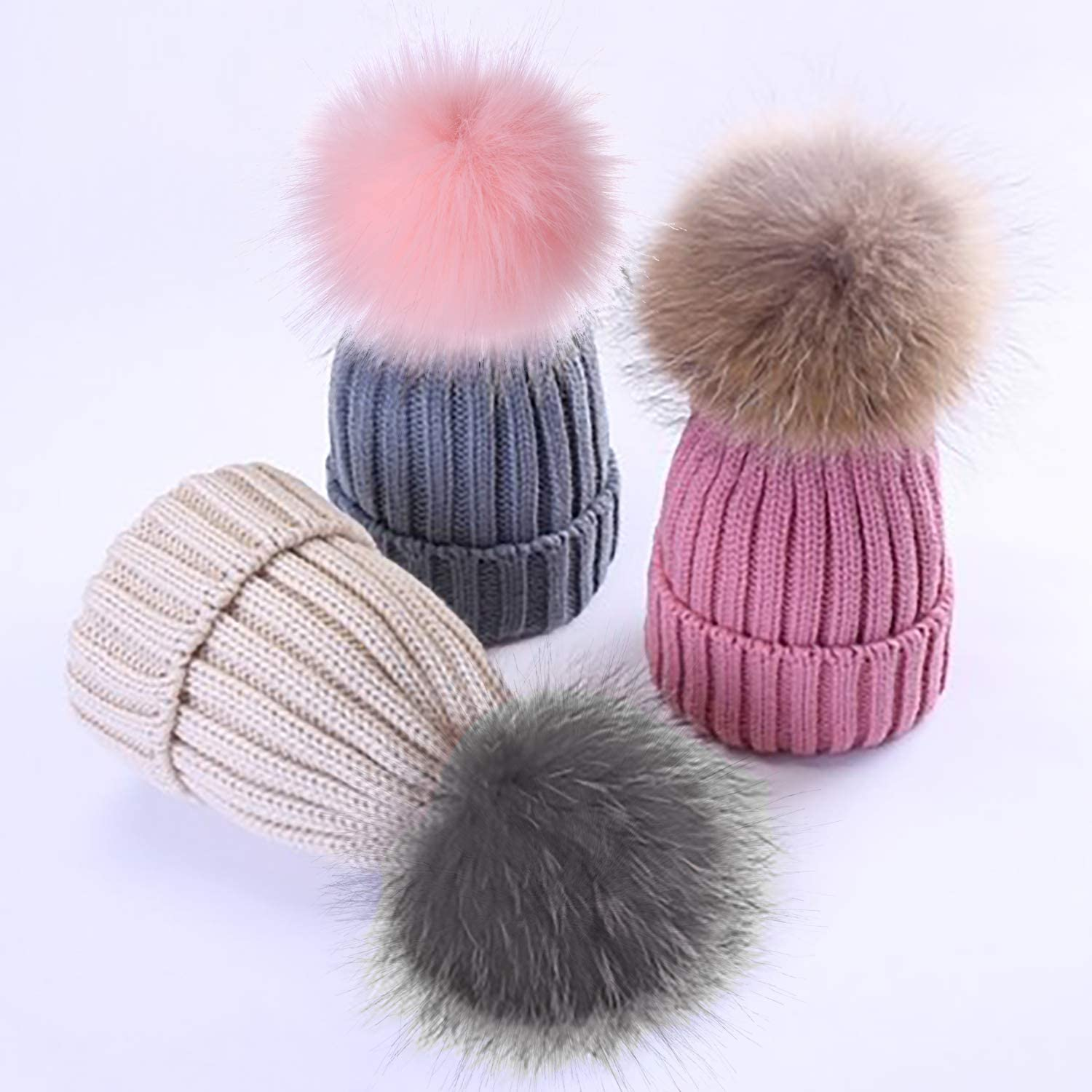 Coopay 16 Pieces Faux Fur Pom Pom Ball DIY Fur Pom Poms for Hats Shoes Scarves Bag Pompoms Keychain Charms Knitting Hat Accessories Popular Mix Colors