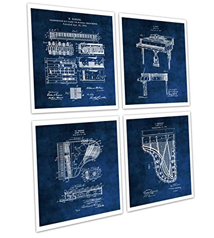 Amazon.com: Gnosis Picture Archive Grand Piano Wall Decor Set of 4 ...
