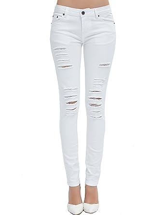 5d0028fea9060 Camii Mia Jeans Déchiré Femme Skinny Slim Fit Usé Casual (W26 x L30, Blanc